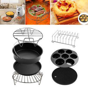 Set mit 7 Air Fryer Zubehör 8 Zoll, Kuchenfass, Pizzapfanne, Kuchenform, Gestell, Silikonmatte