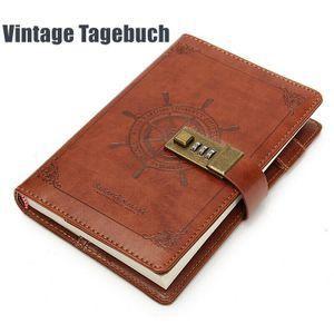 Vintage Tagebuch mit Code Schloß B6 112 Seiten Notizbuch Lederbuch Reisetagebuch