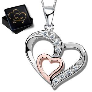 Damen Herzkette 45cm Kette mit Herz Anhänger 925 Echt Sterling Silber Frauen  Halskette K830+V11