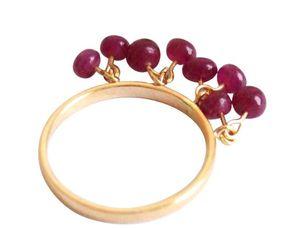 Damen Ring Vergoldet Rubin Rot Ringgröße:54 (17.2)
