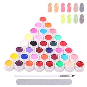 36 Farbe Nagellack Nail Art Pigment Set Nagelpigment UV Gel Set Polish Solid Glue Extension Gel mit einer Nagelbuerste Farbe UV Gel,8ml * 36 Farben Nail Art Pigment Set mit Pinsel und Nagelfeile Gelnägel für Nagel-Design