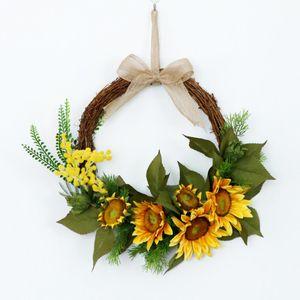 Künstliche Sonnenblumen Blumenkranz Türkranz Wandkranz Dekokranz für Landhaus und Landhochzeit
