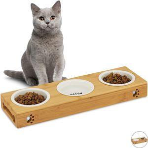 3er Napfständer Bambus, Keramikschalen Wasser & Futter, spülmaschinenfest, Napfbar Katzen, kleine Hunde, natur, L