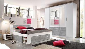 Schlafzimmer Komplett Set 4-tlg. STEFAN Bett 180 Kleiderschrank weiß beton