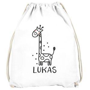 Kinder Turnbeutel personalisiert mit Name Giraffe lustige Zoo-Tiere Strichzeichung Namensaufdruck SpecialMe® Giraffe weiß unisize