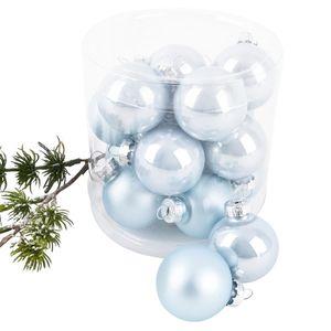 Weihnachtskugel Premium 15er Set Glas 3cm blau