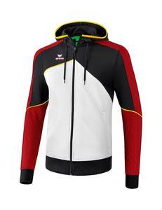 erima Premium One 2.0 Trainingsjacke mit Kapuze, Größe:38, Farbe:weiß/schwarz/rot/gelb