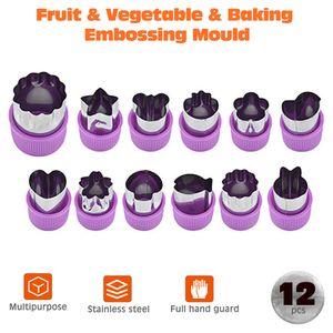 12 Stueck / Set Praegeform Keks Schneidform Gemuese Obst Obst Fondant Kuchen Plaetzchen Kolben Form Cutter Werkzeuge Schneiden Formen Stecklinge