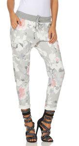 287 Mississhop Damen Hose Cargohose Blumen Sweatpants Jogginghose Baumwolle Freizeithose Boyfriend  Model 4 (Grau-Rosa)