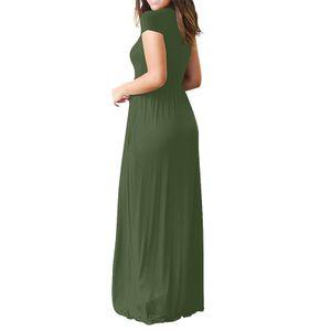 Frauen O-Ausschnitt Casual Pockets Kurzarm bodenlanges Kleid Loses Partykleid Größe:S,Farbe:Grün