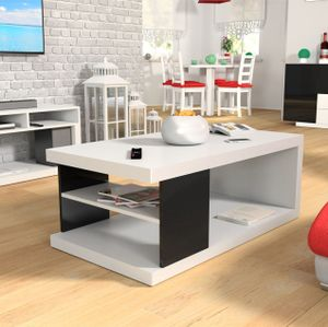 Mirjan24 Couchtisch Gizo IV, Stilvoll Sofatisch, Kaffeetisch, Wohnzimmertisch, Modern Salontisch (Weiß Matt / Schwarz Hochglanz)