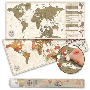 Weltkarte zum Rubbeln im Antik Stil - Scratch off World Map Rubbelkarte