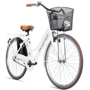 Bergsteiger Amsterdam Damenfahrrad 28 Zoll, mit Korb, Licht, Rücktrittbremse, Rahmenhöhe 48 cm, Hollandrad im Retro-Design, Farbe Weiß