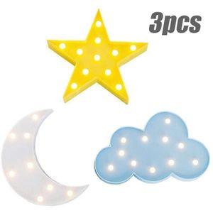 3 Sätze LED gemustertes Nachtlicht, Kinderzimmerzimmerlicht, gelbe Sterne + weißer Mond + blaue Wolken