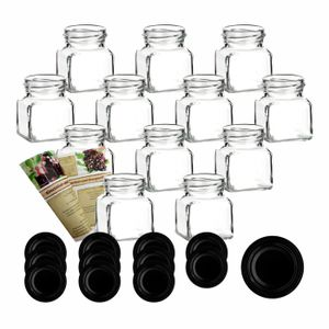 12er oder 24er Set gouveo 120 ml Einmachgläser Quadrat incl. Deckel und Flaschendiscount-Rezeptbroschüre, Deckelfarbe:Schwarz, Setgröße:24er Set