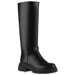 VAN HILL Damen Schlupfstiefel Stiefel Plateau Vorne Profil-Sohle Schuhe 837869, Farbe: Schwarz, Größe: 38