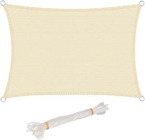 WOLTU Sonnensegel Rechteck 2x3m Creme atmungsaktiv Sonnenschutz HDPE Windschutz mit UV Schutz für Garten