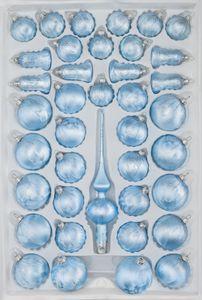 39 tlg. Glas-Weihnachtskugeln Set in Ice Blau Silber Regen