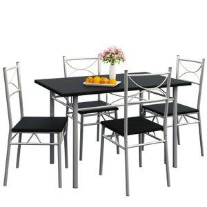 Casaria Esstisch Küchentisch mit 4 Stühlen Esszimmergruppe Essgruppe Küche Tisch Stuhl Set, Farbe:schwarz