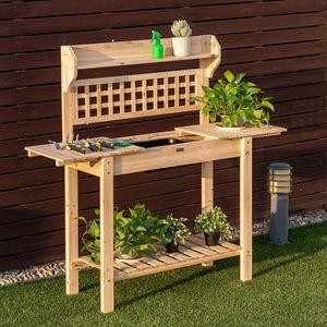 COSTWAY Gärtnertisch Holz, Pflanztisch Garten Arbeitstisch Gartentisch mit Abnehmbarer Spüle& Schiebetischplatte, Holzpflanztisch für Garten Balkon 100-148x45x141cm