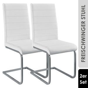 Juskys Freischwinger Stuhl Vegas 2er Set   Kunstleder Bezug + Metall Gestell   120 kg belastbar   weiß   Esszimmerstühle Schwingstühle