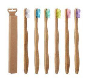 6 Stück Bambus Zahnbürste Mittel Verschiedene Farben Holz Nachhaltig