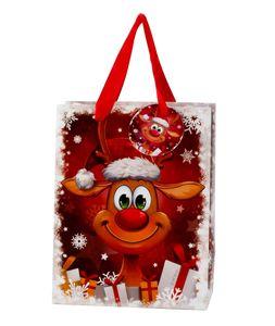 24 Stück Geschenktüte Weihnachten Lustiges Rentier 18 x 24 x 10 cm