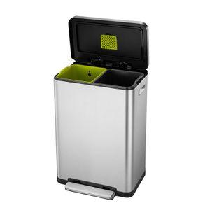 EKO X-Cubetret-Abfalltrenner 20+20 Liter Edelstahl matt silber