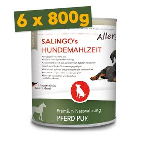 SALiNGO Premium Hunde Nassfutter Pferd PUR   BARF Alternative   Single Protein   6x800g