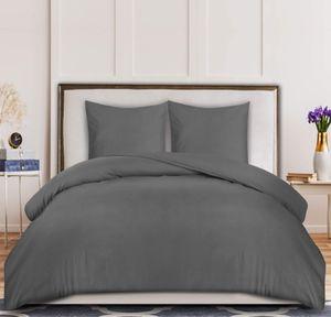 MEROUS-Bettwäsche-Set - Mikrofaser Bettbezug 200x200 cm und 2 Kopfkissenbezüge 65X65 cm - Grau Bettbezüge Set mit Reißverschluss