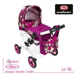 Adbor  Puppen Kinderwagen Spielzeug Set Lily LC16 Bischöfe / Blumen / Pflaumen