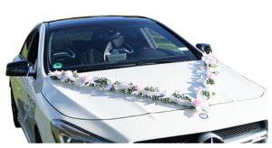Autoschmuck Autogirlande Autodekoration Hochzeit Brautauto rosa weiß AU0030 LANG
