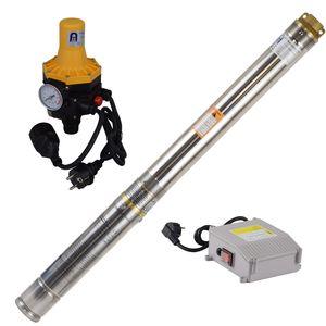 Agora-Tec® 3 Zoll Brunnenpumpe Tiefbrunnenpumpe 370W- 3DW Set mit Druckschalter und Trockenlaufschutz