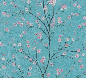 Livingwalls Blumentapete Metropolitan Stories florale Tapete Mio Tokio Vliestapete türkis rosa schwarz grau 10,05 m x 0,53 m