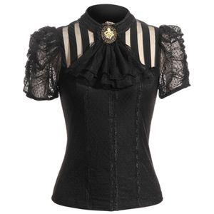 Viktorianische Damen Kurzarm-Bluse Sasha (SP087), Farbe:Schwarz, Größe:XXL