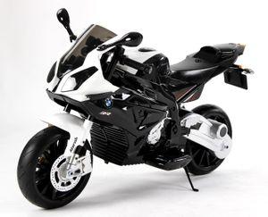 Kinder-Elektro Motorrad BMW S 1000 RR batteriebetriebenes Auto, lizensiert, EVA-Soft-Wheels, Metallrahmen, 2x Motor, 12 V-Batterie, schwarz und weiß