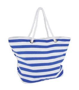STRANDTASCHE 58x40x23cm Blau/Weiss Badetasche Reisetasche Schultertasche Damentasche Beach Bag