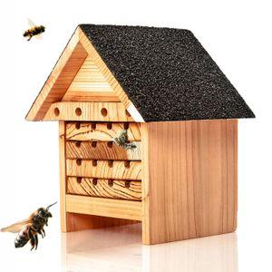 Bienenhotel aus Naturholz - Nisthilfe & Unterschlupf für Wildbienen   ideal für Garten oder Balkon - wetterbeständiges, unbehandeltes Massiv-Holz : Insektenhotel Insektenhaus Bienenhaus