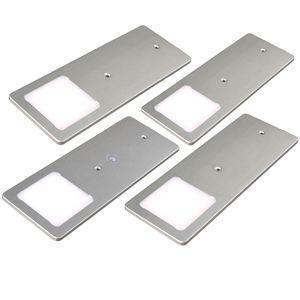 kalb    LED Unterbauleuchten silber 5W- sehr flache Küchenleuchte mit Touch-Dimmfunktion Einbaustrahler Einbauspot, Auswahl:4er Set warmweiss