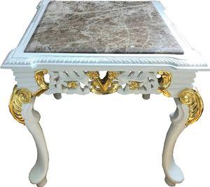 Casa Padrino Barock Beistelltisch Weiß / Gold / Grau - Handgefertigter Massivholz Tisch mit Marmorplatte - Barock Möbel