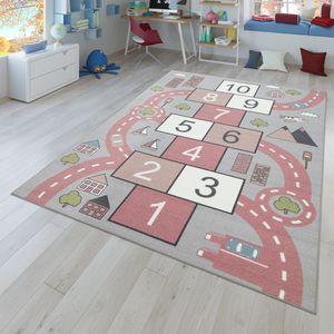 Kinder-Teppich, Spielteppich Für Kinderzimmer Straßen-Look, Hüpfkästchen, Rosa, Größe:80x150 cm