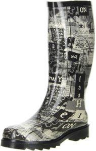 ConWay Damen Gummistiefel (Zeitung) schwarz, Größe:40, Farbe:Schwarz