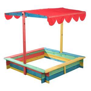 Holz Sandkasten + Überdachung Sandkiste Spielhaus Sandbox Plane Kiefernholz bunt