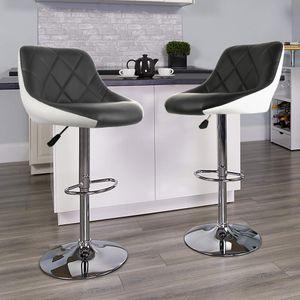 Barhocker Set Barstuhl Kunstleder Design Barstühle Bar Hocker Stühle Schwarz-weiß
