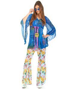 Hippie-Damenkostüm Flower-Power blau-bunt