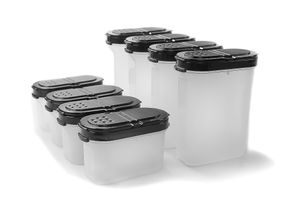 TUPPERWARE Gewürz-Riese 270 ml (4) schwarz + Zwerge 120 ml (4) schwarz Gewürz Behälter + SPÜLTUCH