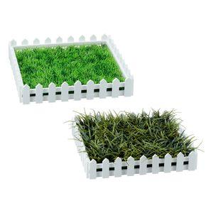 1x Künstliche Wiese mit Zaun, Kunstrasen, Gras, grün/weiß, ca. 25x25cm, Matte, Deko, Tischdeko, Ostern
