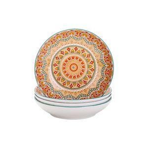 Tafelservice Suppenteller porzellan, vancasso MANDALA 4 teiliges Tiefteller Set, Suppenteller Ø 20,8 cm, Geschirr Tellerset Suppenschalen, böhmischer Stil, 700ml