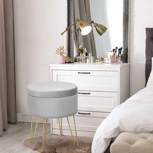 COSTWAY Samthocker mit Stauraum, moderner runder Schminkhocker, Polsterhocker mit Metallbeinen, Fußhocker bis 100kg belastbar, Sitzhocker geeignet für Schlafzimmer und Wohnzimmer Grau