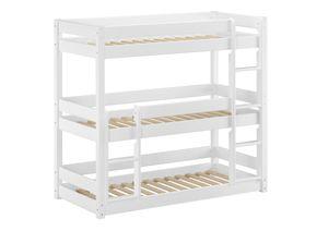 Weißes Dreier-Etagenbett für Erwachsene Stockbett für drei Personen 90x200 Kiefer weiß V-60.03-09W, Ausstattung:Rollrost inkl.